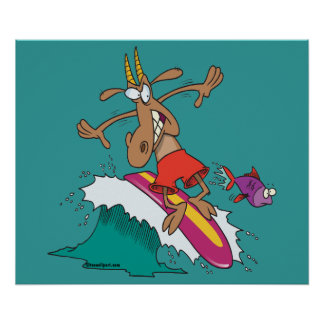 silly billy goat surfing surfer cartoon print