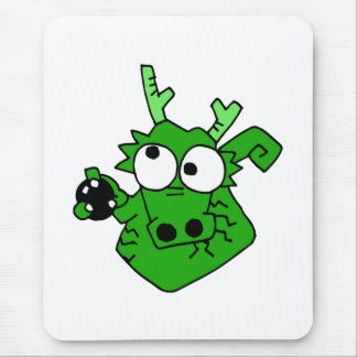 Silly Bowling Dragon Mouse Pad