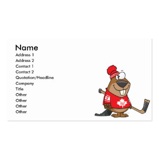 silly canadian hockey beaver cartoon business card