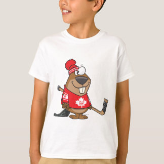 silly canadian hockey beaver cartoon T-Shirt