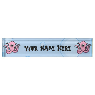 Silly Cartoon Octopus Desk Name Plate