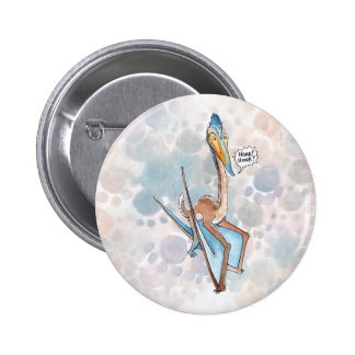 Silly Cartoon Quetzalcoatlus Pterosaur 6 Cm Round Badge