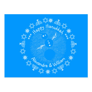 Silly Cartoon Snowman Winter Personalized Hanukkah Postcards