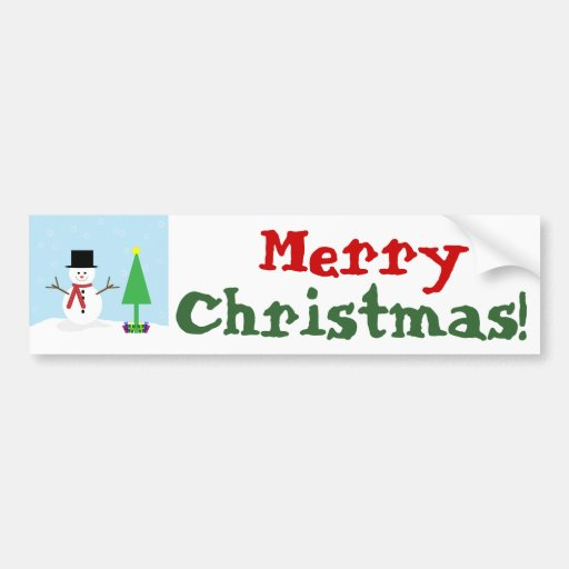 Silly Cartoon Snowman with gifts & Christmas Tree Bumper Stickers
