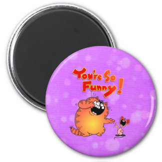 silly cat 6 cm round magnet