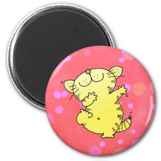Silly Cat Dance 6 Cm Round Magnet