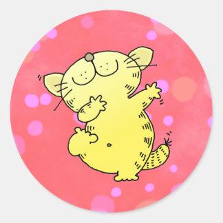 Silly Cat Dance Round Sticker