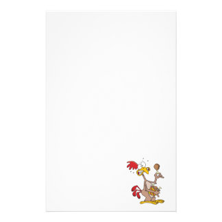 silly chicken holding bucket of chicken drumsticks custom stationery