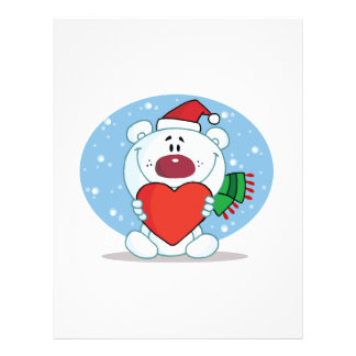 silly christmas love polar bear cartoon character full color flyer