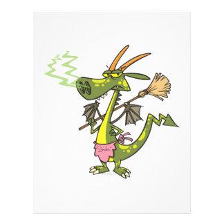 silly cleaning dragon lady cartoon 21.5 cm x 28 cm flyer