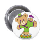 Silly Clown Teddy Bear Button