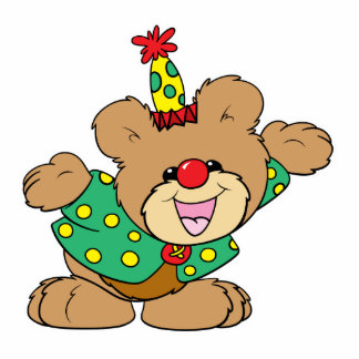 silly clown teddy bear design acrylic cut out