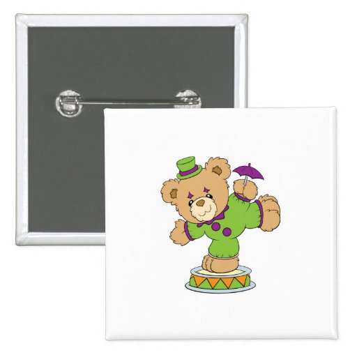 Silly Clown Teddy Bear Pinback Button