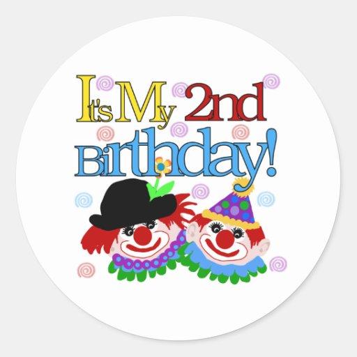Silly Clowns 2nd Birthday Round Sticker