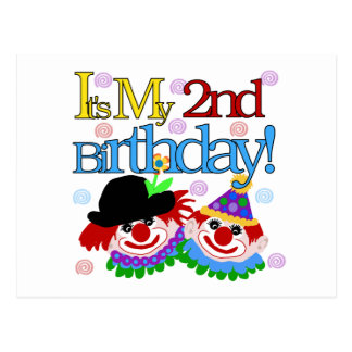 Silly  Clowns 2nd Birthday Tshirts and Gifts Postcard
