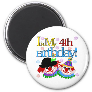 Silly Clowns 4th Birthday 6 Cm Round Magnet