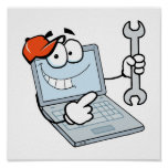 silly computer repair cartoon laptop with wrench