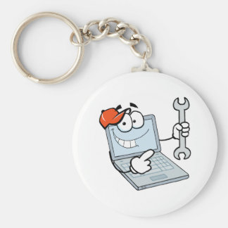 silly computer repair cartoon laptop with wrench basic round button key ring