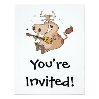 silly cow cartoon playing guitar 11 cm x 14 cm invitation card