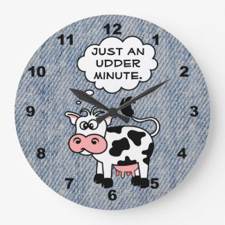 Silly Cow Just An Udder Minute Faded Denim Large Clock