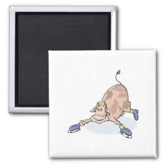 silly cow on ice skates square magnet