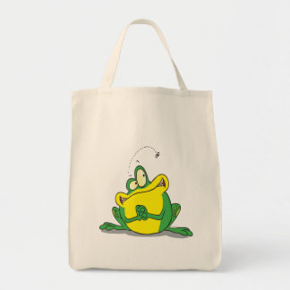 silly cute froggy patience for the fly grocery tote bag