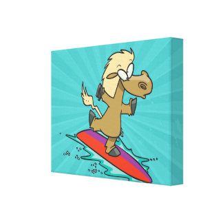 silly cute funny surfing horse surfer gallery wrap canvas