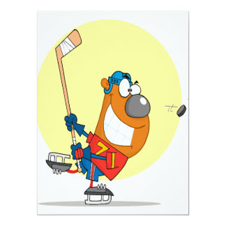 silly cute hockey player playing bear cartoon 17 cm x 22 cm invitation card