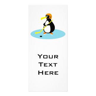silly cute ice hockey penguin custom rack card