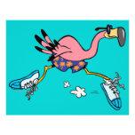 silly cute jogging running flamingo 21.5 cm x 28 cm flyer