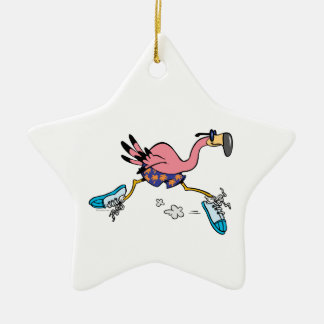 silly cute jogging running flamingo christmas ornament