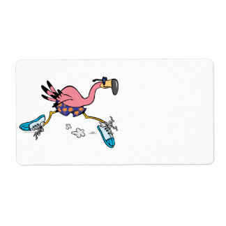 silly cute jogging running flamingo shipping label