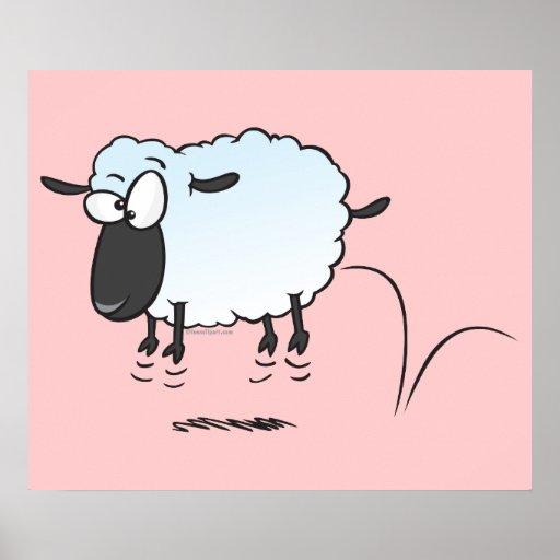 silly cute leaping lamb sheep cartoon poster