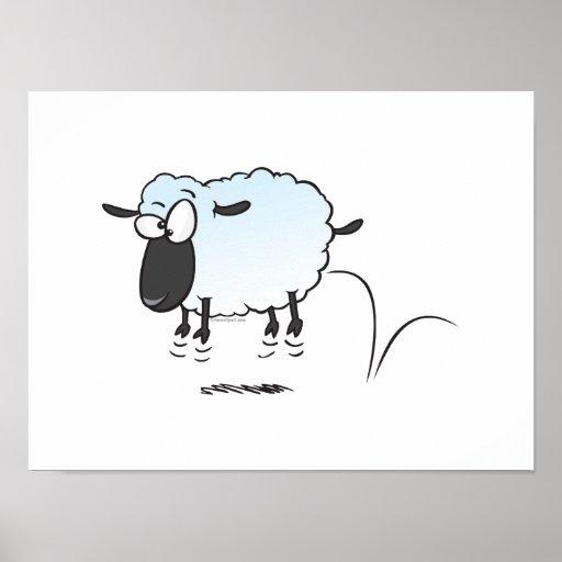 silly cute leaping lamb sheep cartoon posters