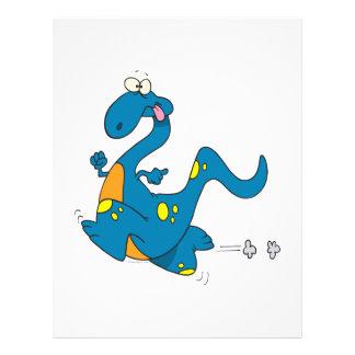 silly cute running blue dino dinosaur cartoon 21.5 cm x 28 cm flyer