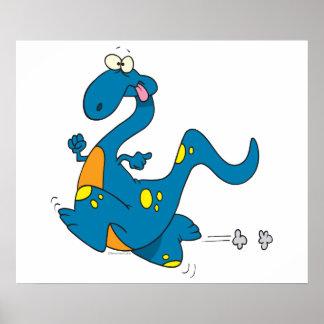 silly cute running blue dino dinosaur cartoon poster