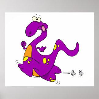 silly cute running purple dino dinosaur cartoon poster