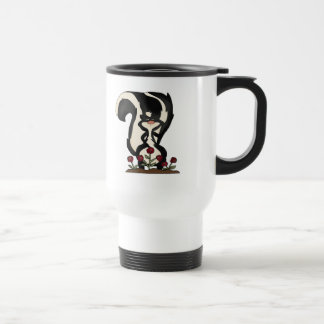 silly cute skunk and red roses travel mug