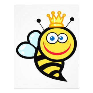 silly cute smiling queen bee cartoon full color flyer