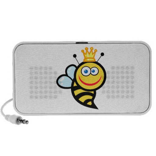 silly cute smiling queen bee cartoon notebook speakers