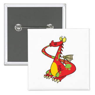 silly dragon with tail in mouth 15 cm square badge
