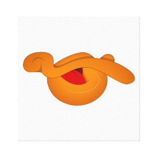 Silly Duck Face Cartoon Stretched Canvas Print