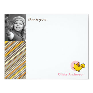 Silly Duckies Pink Kids Birthday Thank You Card 11 Cm X 14 Cm Invitation Card