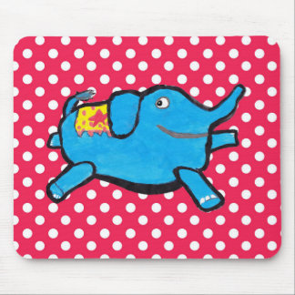 Silly Elephant Polka Dots Mouse Pad