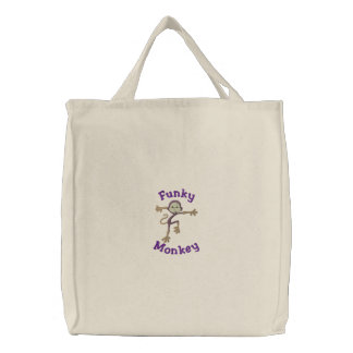Silly Embroidered Funny Monkey Funky Monkey Embroidered Tote Bag