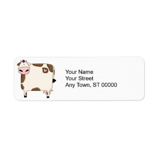 silly fat brown and white cow cartoon return address label
