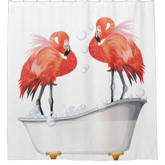 Silly Flamingos in the Bathtub Shower Curtain