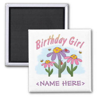 Silly Flowers Birthday Girl Square Magnet