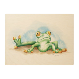 Silly Frog Wood Wall Art