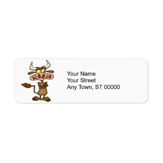 silly funny mad angry cow cartoon return address label